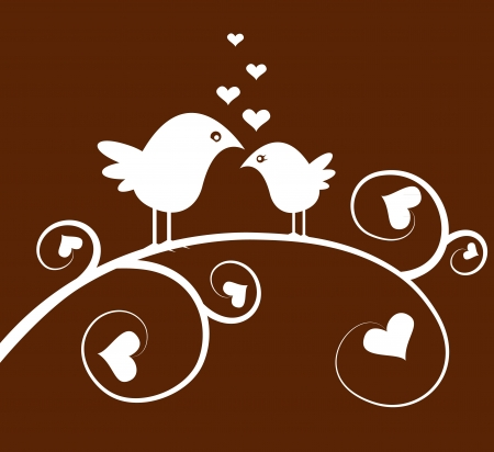 vector bird on a branch and hearts Vector