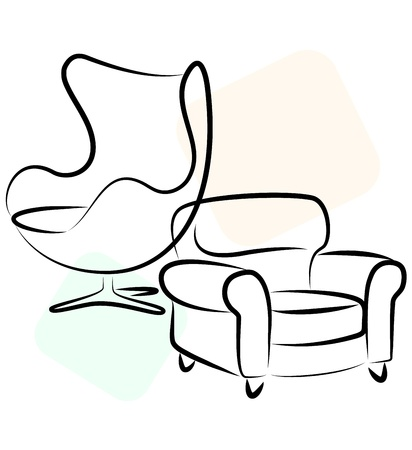 red couch: design for business, silhouette chair Illustration