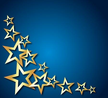 ster: abstracte achtergrond met gouden sterren Stock Illustratie
