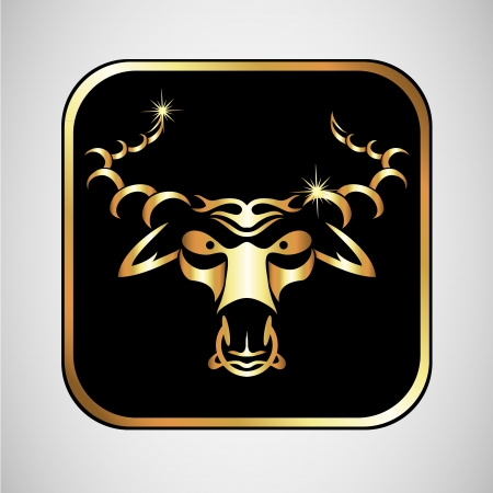 bull horn: emblem of a bull in a gold color for the vector