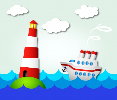cruise ship sailing to the lighthouse Vector