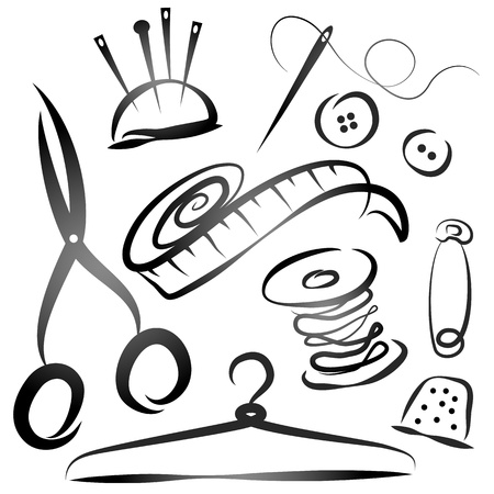 people sewing: set of tools for sewing, the silhouette