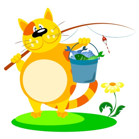 fisher: cat with a fishing rod and fish Illustration