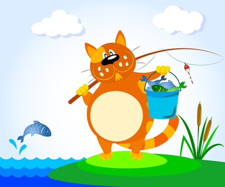 cat with a fishing rod on the River Vector
