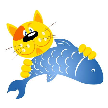 ginger cat holding a fish in its claws Vector