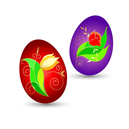 Easter eggs with flowers for the vector Stock Vector - 18982820