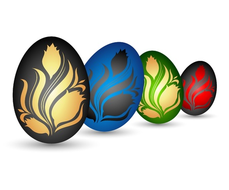 Easter eggs with floral patterns for the vector Stock Vector - 18982823