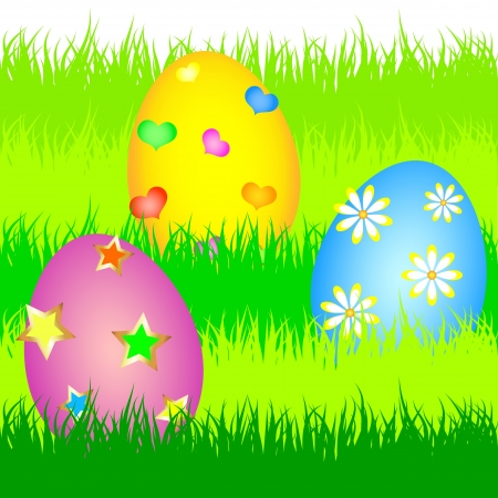 colorful easter eggs in the green grass of the vector Stock Vector - 18982830