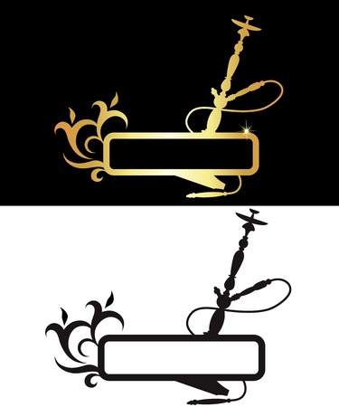 hookah: hookah black and gold, silhouette Illustration