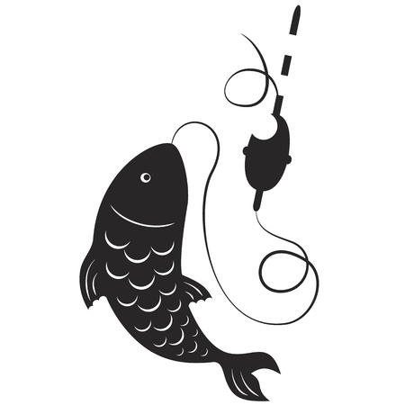 fish silhouette: Silhouette of fishing rods and fish on the hook