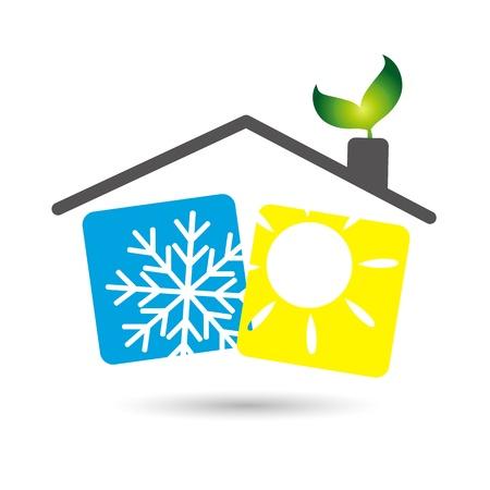 aire acondicionado en la casa, el dise?o de los negocios Ilustración de vector