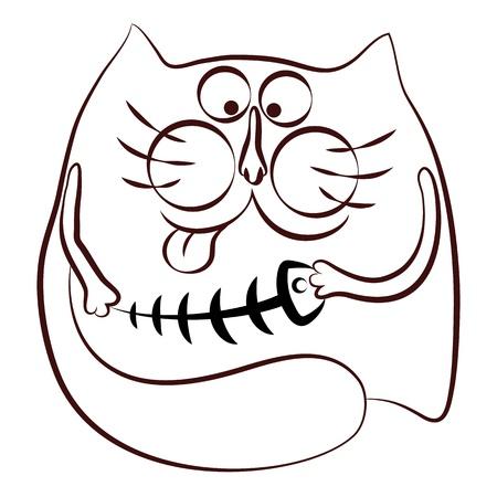 skeleton of fish: Gato y la silueta esqueleto de pescado