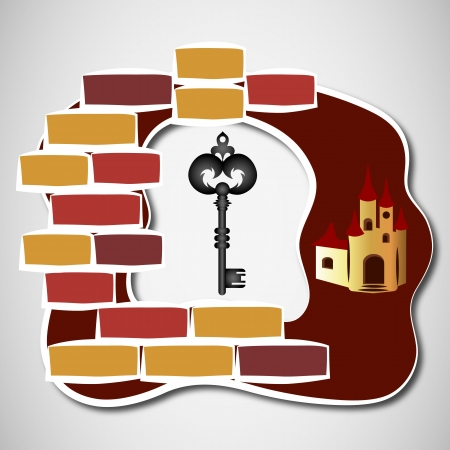 key to castle on the background of bricks