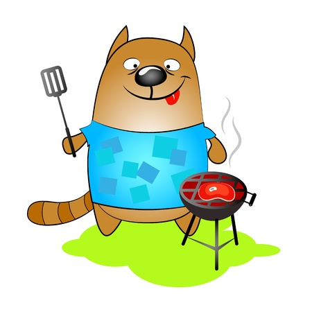 cat prepares steak on the grill Stock Vector - 19910775