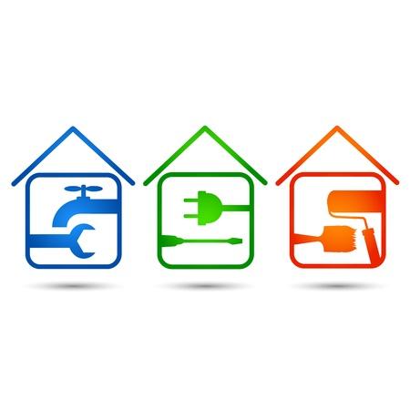 plumber with tools: conjunto de iconos para la construcci�n y rehabilitaci�n de viviendas Vectores