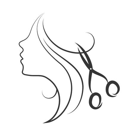olló: lány és olló design fodrász Illusztráció