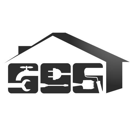 Conception d'emblème pour la réparation des maisons Banque d'images - 22010261