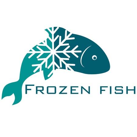 frozen fish: frozen fish design for business Illustration