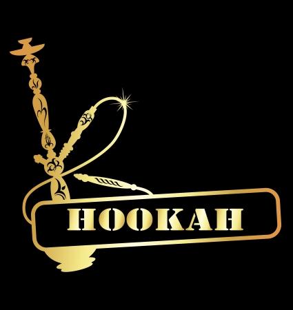 shisha: design golden hookah  Illustration
