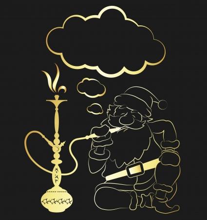 narghil�: Babbo Natale che fuma un narghil� Vettoriali