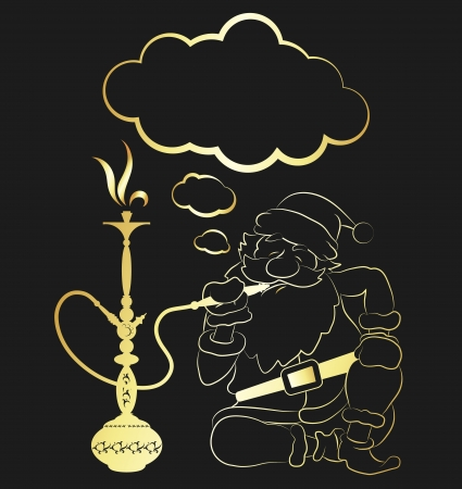 hookah: Santa Claus smoking a hookah Illustration