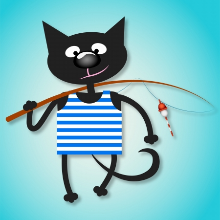 cat fish: Black cat with a fishing rod for the vector