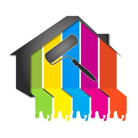 ontwerp voor het schilderen huizen, de bouw Stock Illustratie