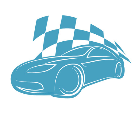 silhouette sports car with a finishing flag Vector