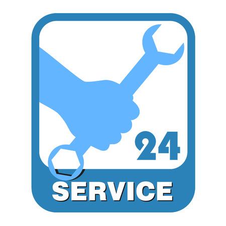 servicing: design emblem for servicing, the vector