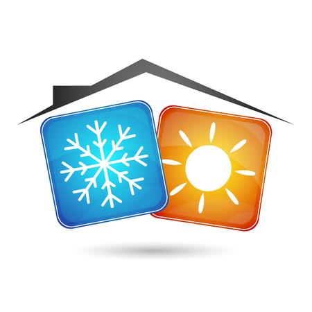 airconditioning in het huis, de inrichting van de bedrijfsprocessen Stock Illustratie
