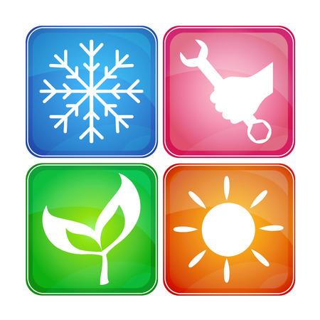 Design iconen voor reparatie bedrijf, airconditioning Stock Illustratie