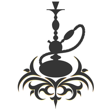 shisha: hookah silhouette pattern vector