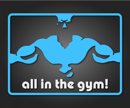 bodybuilder: design a banner or badge for the gym
