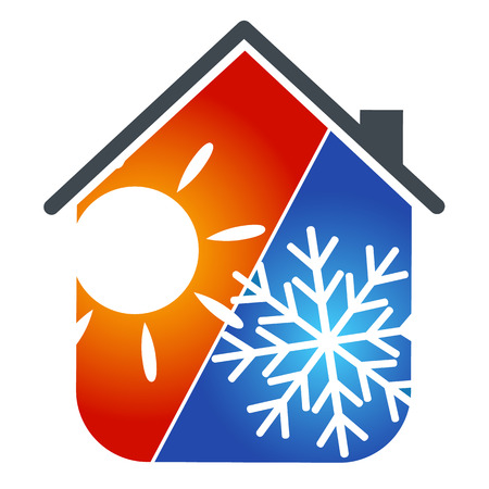 and heating: symbol the conditioner for business, house service Illustration