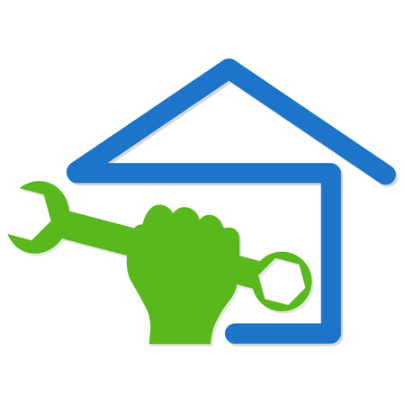 symbol vector for home renovation, hand and spanner Vector