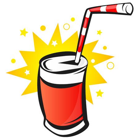 soda pop: Red Bank with soda, cartoon, vector