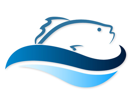 symbol of fish in the waves for a vector