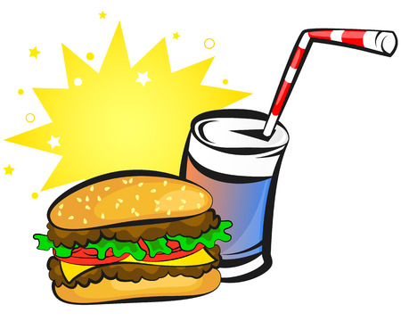 animations: burger and can of soda, animation, vector