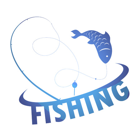rods: Fishing for design vector silhouette of fish