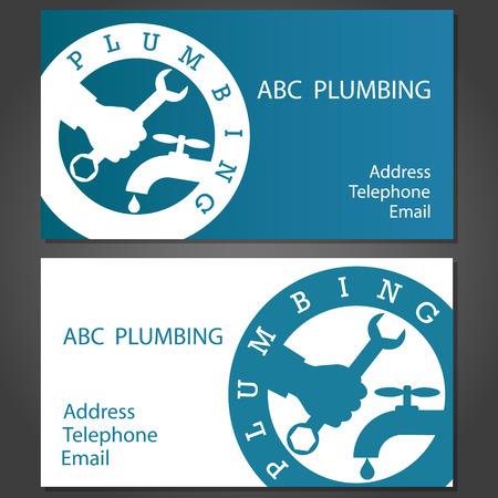plumbing tools: Design Business cards for plumbing, vector