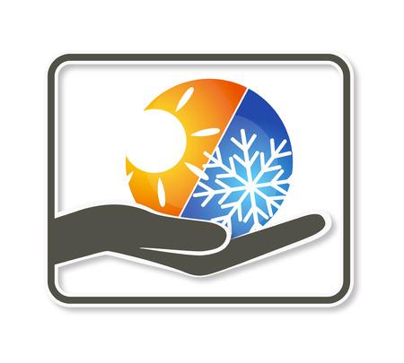 dienstverlening: Ontwerp voor airconditioning bedrijf, vectorillustratie