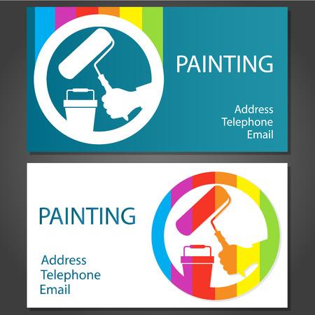 pintor de casas: tarjetas de visita del dise�o de negocio de pintura, vector