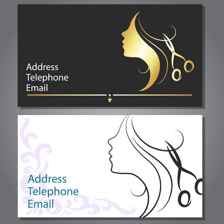 Design-Visitenkarte für Haar-und Schönheitssalon Standard-Bild - 27204749