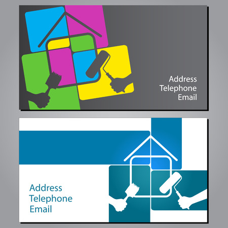 house painter: design business cards for painting houses, vector