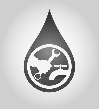 waterpipe: Design for repair waterpipe silhouette drops Illustration