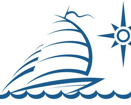 silhouet van de jacht op de golven van de vector Stock Illustratie