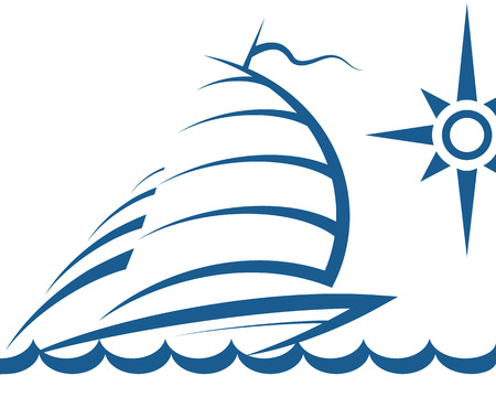 silhouette of the yacht on waves for the vector