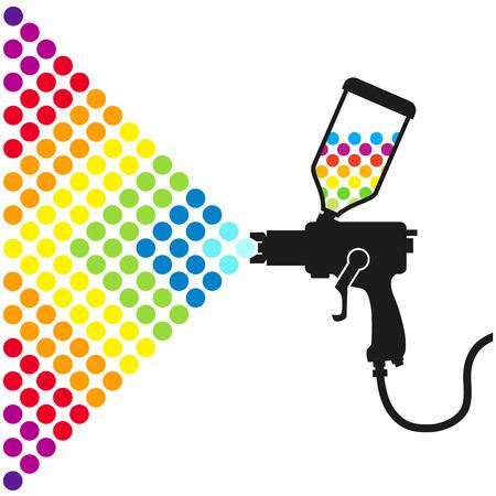 pulverizador: Pistola rocía un color de pintura para el vector