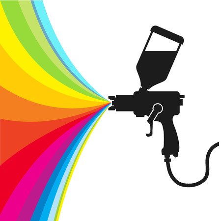 airbrush: Silhouette gun spray paint color, vector