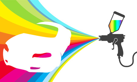 painter: design for car paint, colored paint sprinkler Illustration
